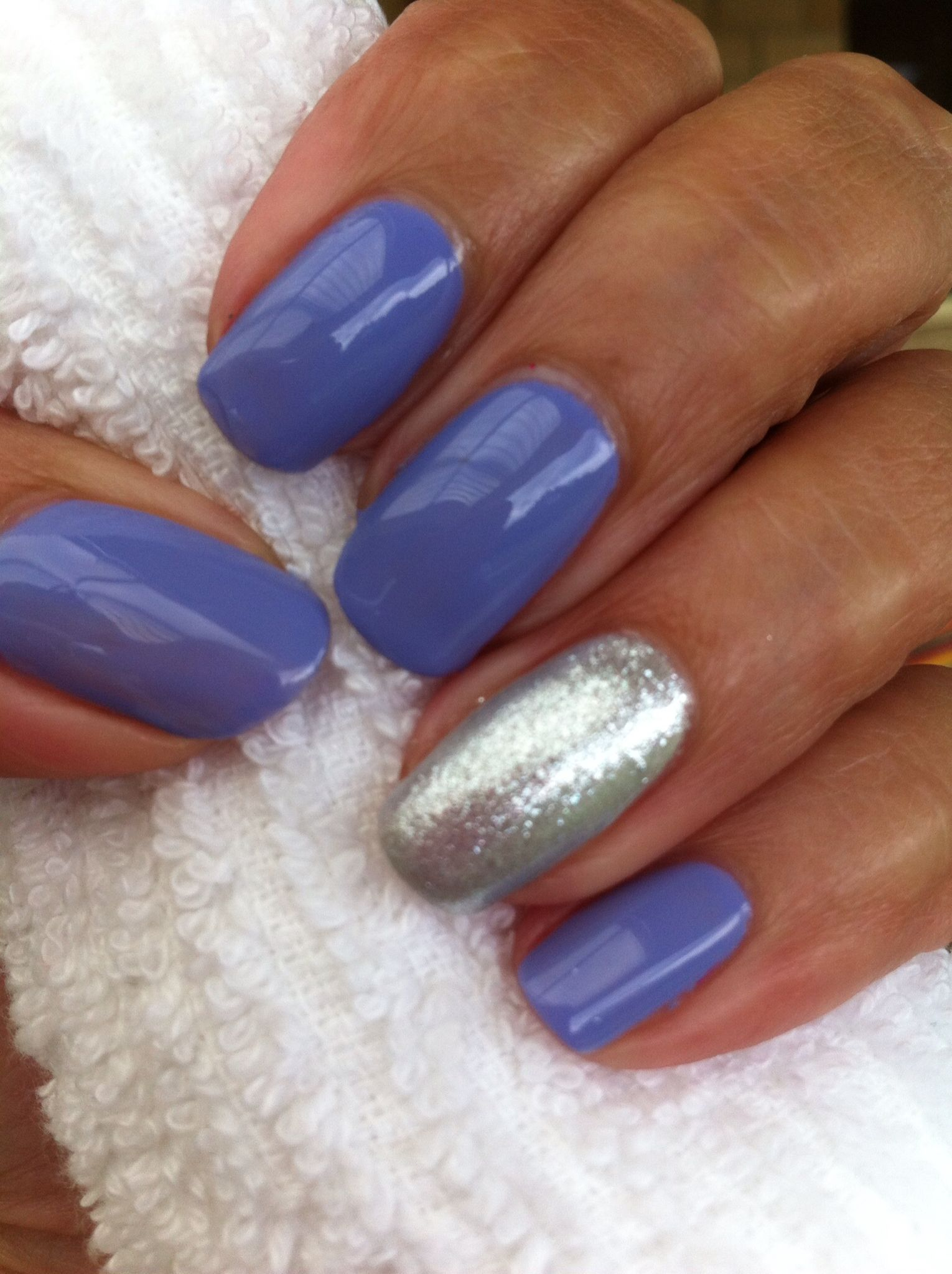 Wisteria haze with silver chrome and glitter on accent nail CND ...