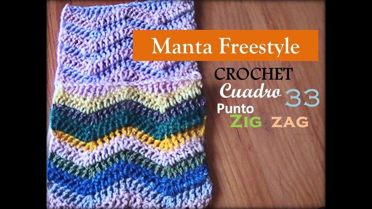 Manta a CROCHET FreeStyle cuadro 33: punto Zig Zag (zurdo) | Crochet ...
