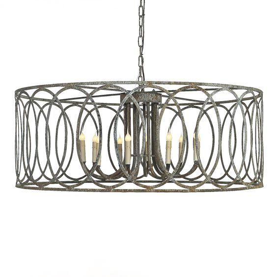 Large round iron chandelier with circle motif with 6 chain and 9 large round iron chandelier with circle motif with 6 chain and 9 cord distressed finish 10 lights with 60w max additional finishes available aloadofball Choice Image
