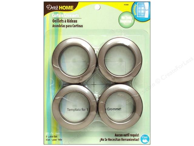 Dritz Home Curtain Grommets 1 9 16 In Round Pewter 8pc Grommet Curtains Pewter Curtains No Sew Curtains