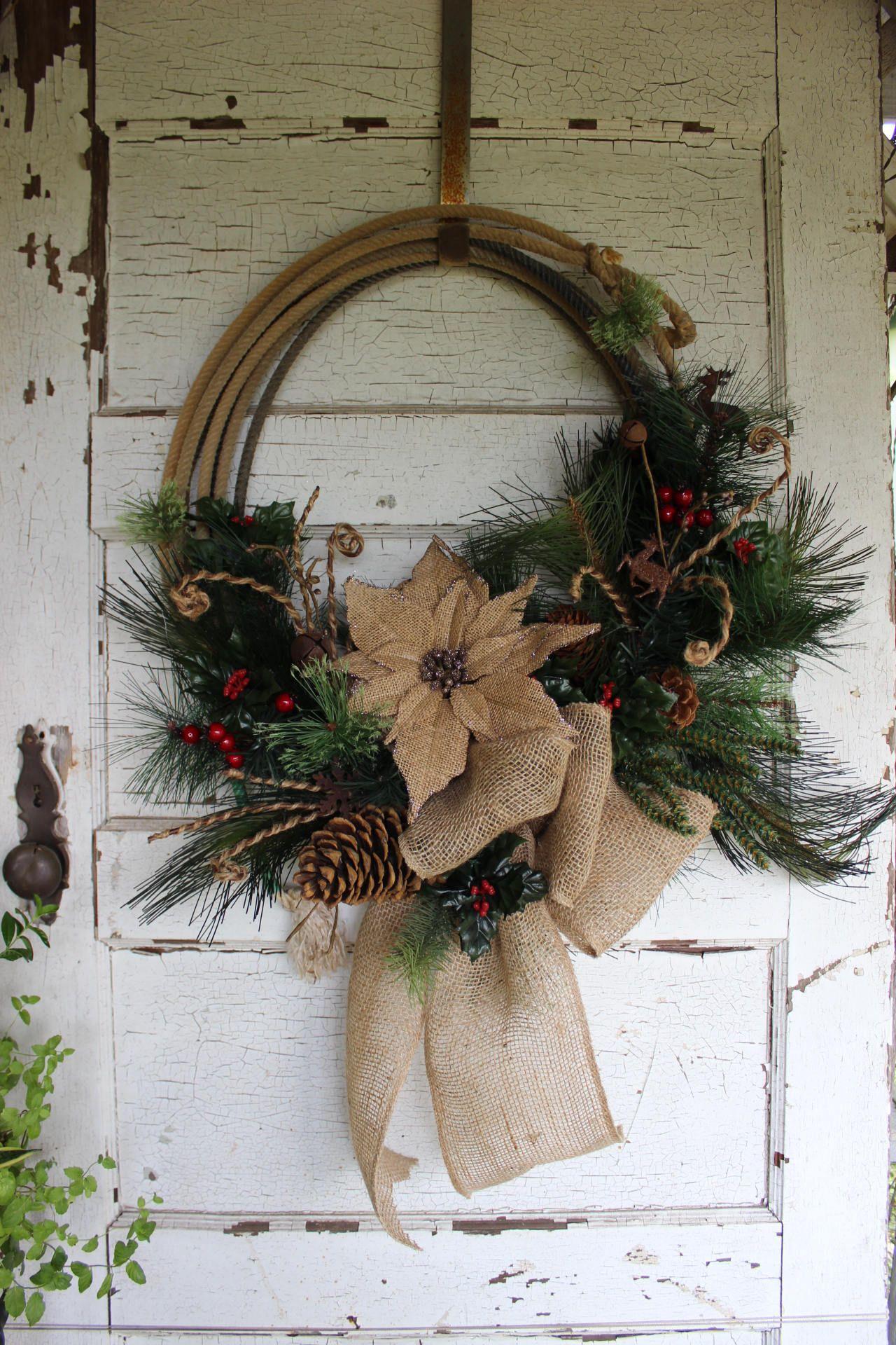 Rustic Western Rope Christmas Wreath, Christmas wreath