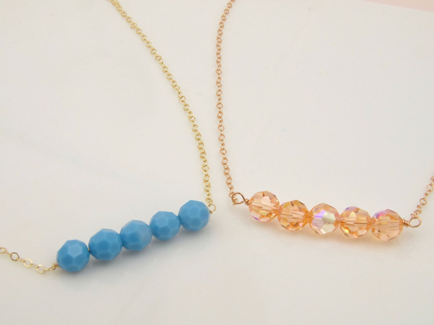 Beaded Necklace Bar Necklace Dainty Necklace Delicate Jewelry Best ...