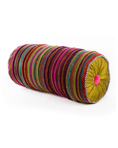 HDGLE MacKenzie-Childs Paradise Stripe Bolster Pillow