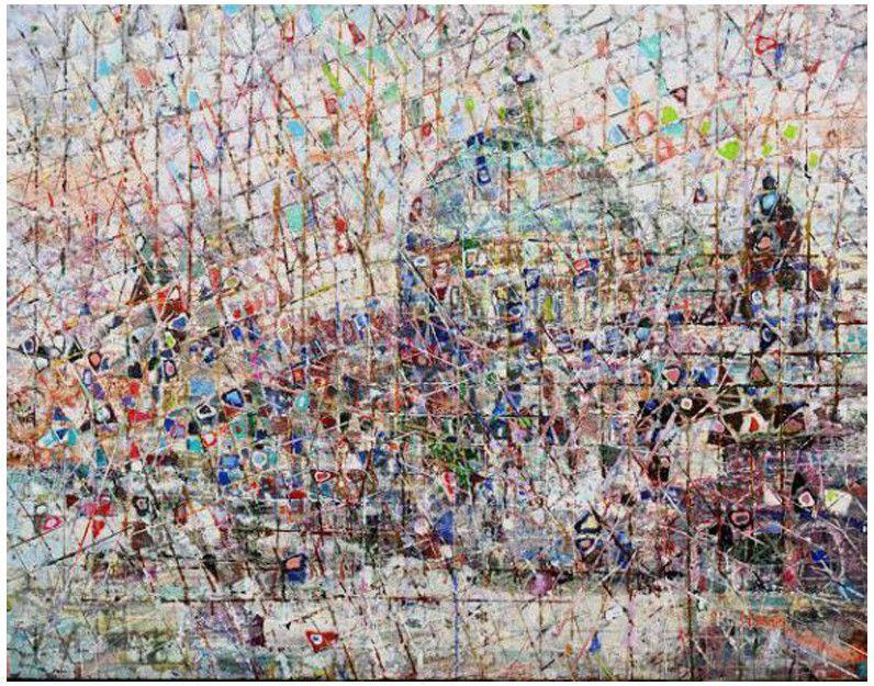 "Kyu Nam Han (Korean, b. 1945), ""Venice II"", ca. 2000, acrylic on canvas, signed"