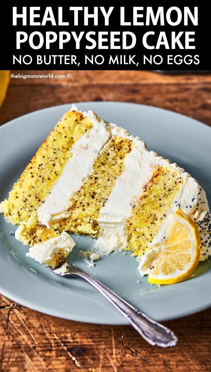 Healthy Lemon Poppyseed Cake (No eggs, milk, or bu