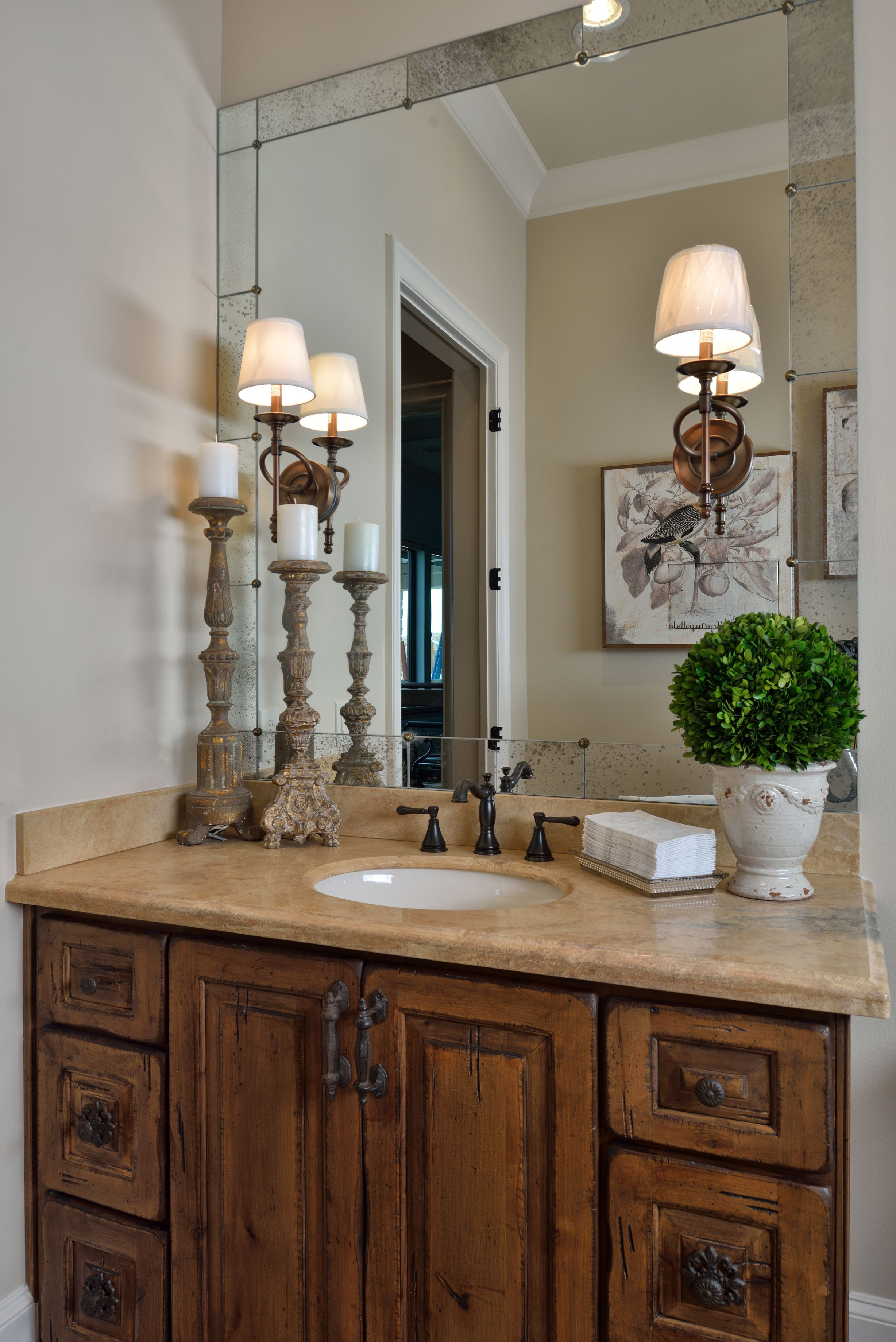 Tuscan Style Bathroom, Old World Feel, Antiqued Mirror, Travertine, Rustic