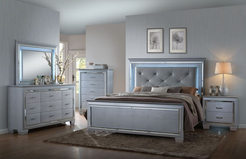 Crown Mark RB7100 Lillian Queen Size Bedroom Set Glam Chic 2 Night Stands  #CrownMark #