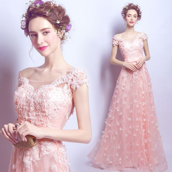 New Fashion Pink Petal Lace Evening Dresses Party Elegant 2017 Cap ...