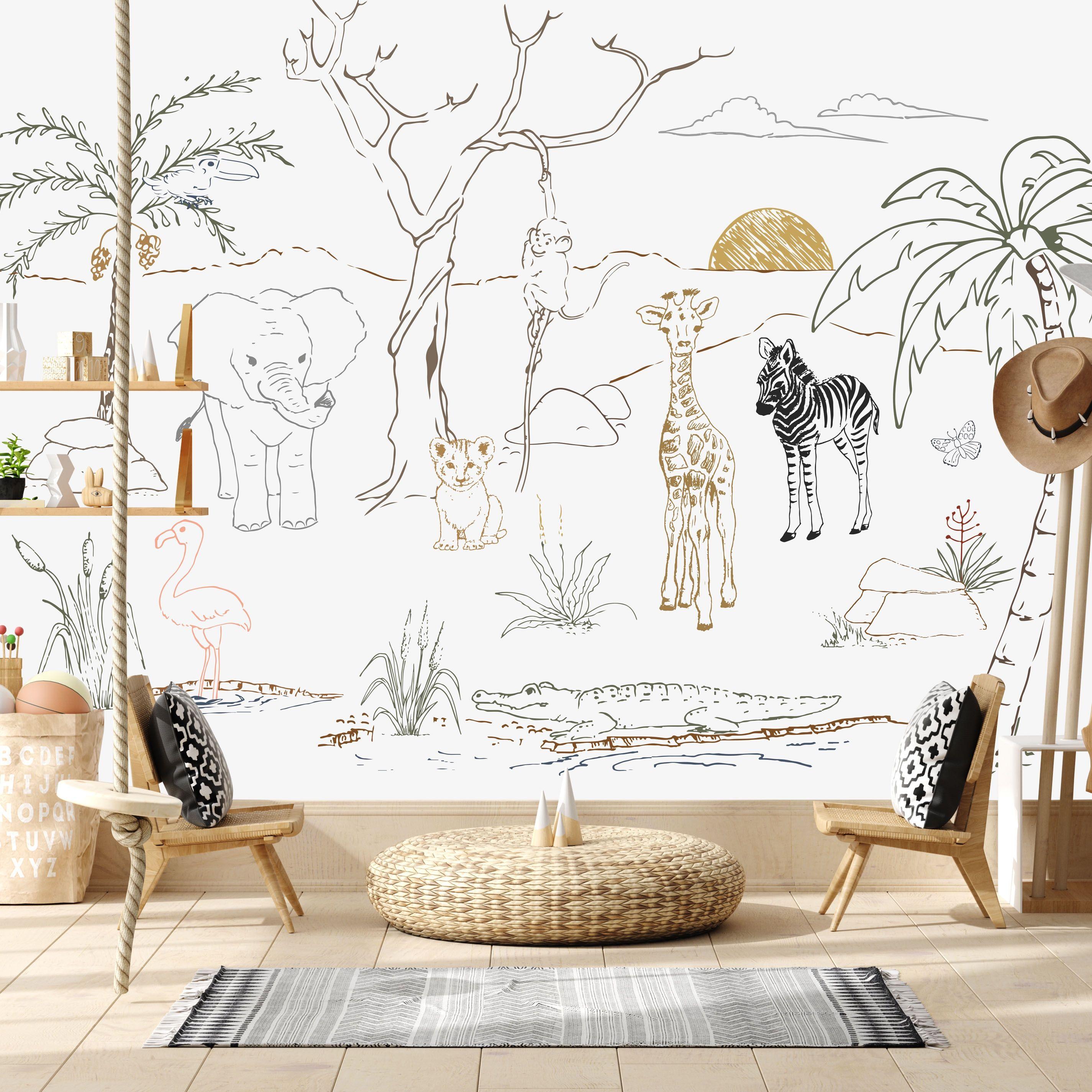 BABY SAFARI ANIMAL MURAL | Animal mural, Mural wallpaper ...