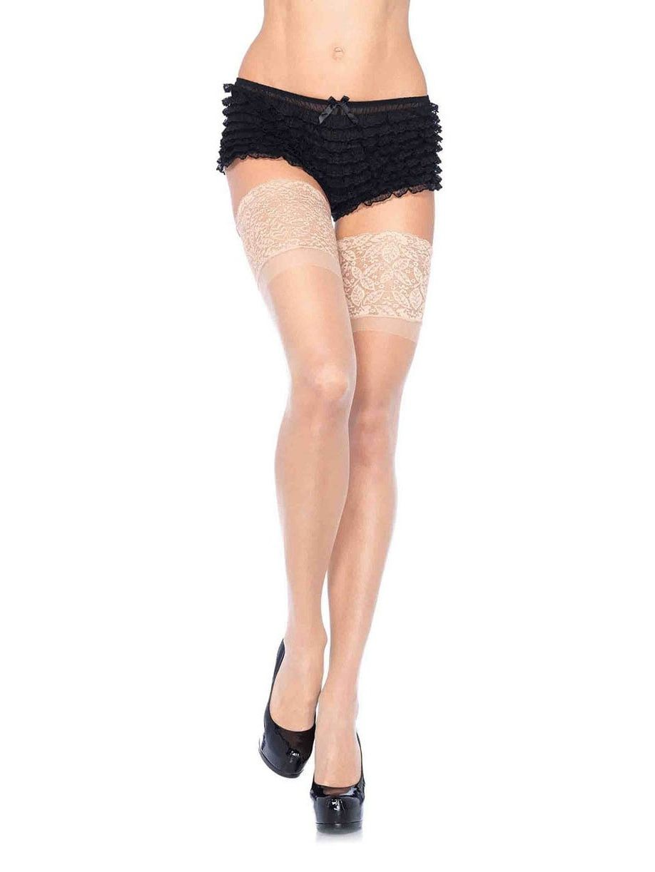 51290a5b1 Leg Avenue Women s Sheer Thigh Highs with Silicone Lace Top