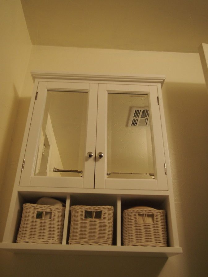 White Bathroom Wall Cabinet With Baskets Is A Great Solution