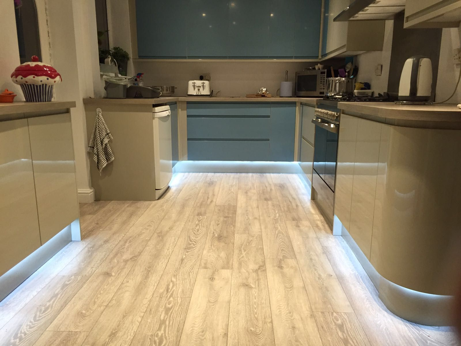 Cool white plinthkickboard lighting using our customisable cool white plinthkickboard lighting using our customisable tradestrip120 led strip lighting aloadofball Choice Image