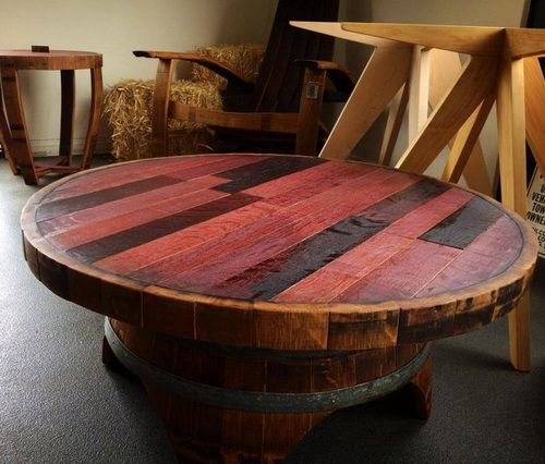 Worley Coffee Table: Handmade Whiskey And Wine Barrel Recycled Furniture