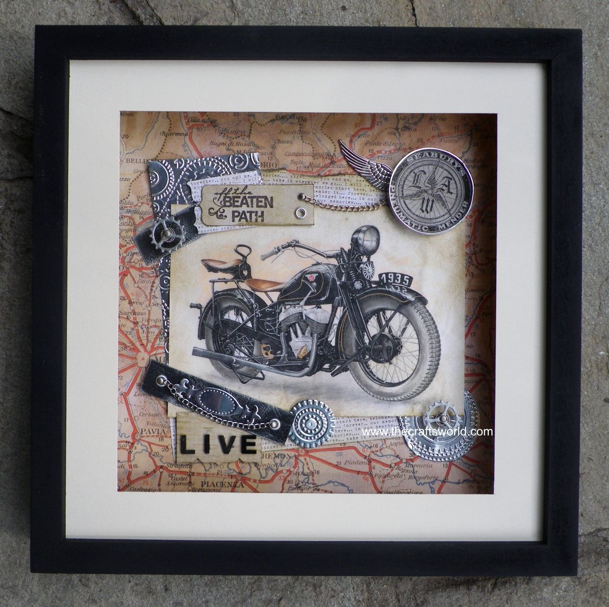 Large shadow box with a motorbike drawing decorated with metallic ...