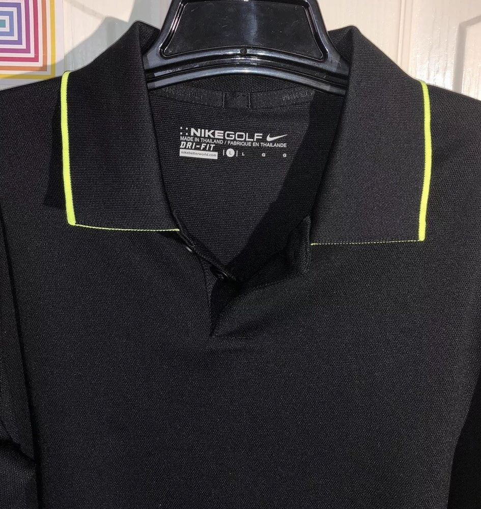 167141dfb4 NIKE GOLF BOYS DRI-FIT POLO LARGE BLACK with LIME GREEN STRIPE FLIP ...
