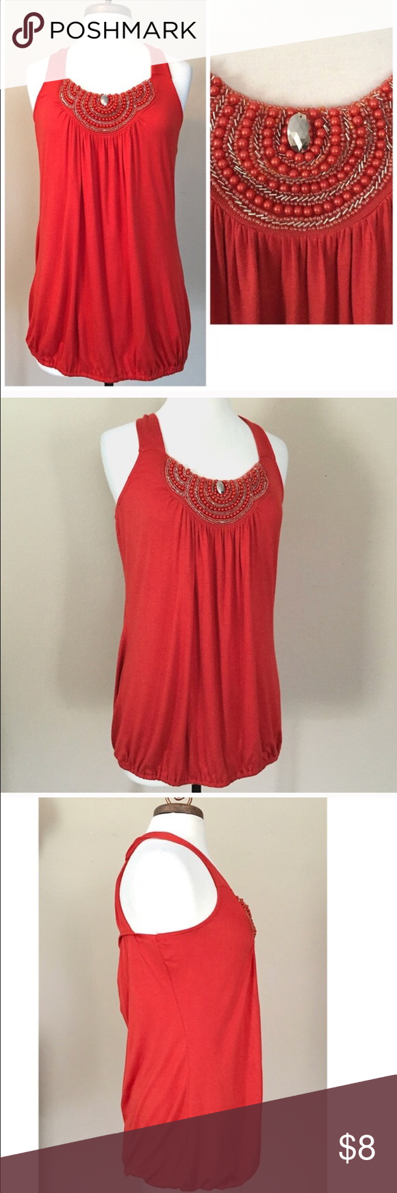 Dark coral embellished top 💞 Simply Irresistible tank top, super soft with gorgeous beaded embellishments on front & cross cross straps in back. EUC. Dark coral color. No flaws. 💞 simply irresistible Tops Tank Tops