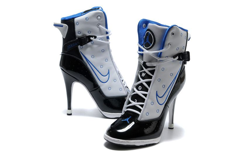 Nike New Women Air Jordan High Heels Shoes White Black Blue - Nike Heels  Nike High