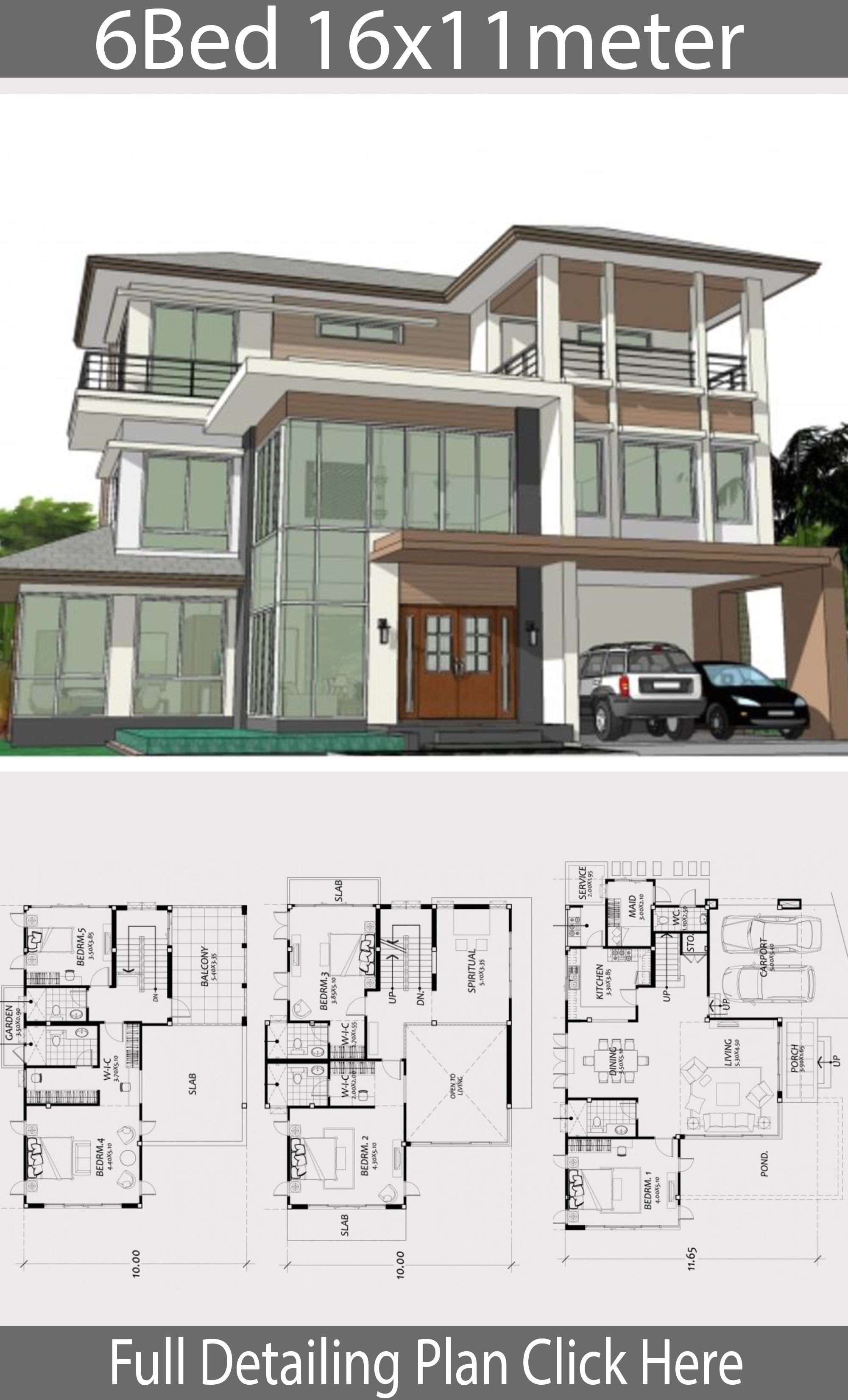 Home Design Plan 16x11m With 6 Bedrooms House Plan Map In 2020 Beautiful House Plans House Layout Plans House Architecture Design