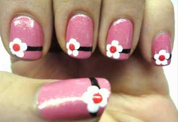 Cute short nail designs with flower
