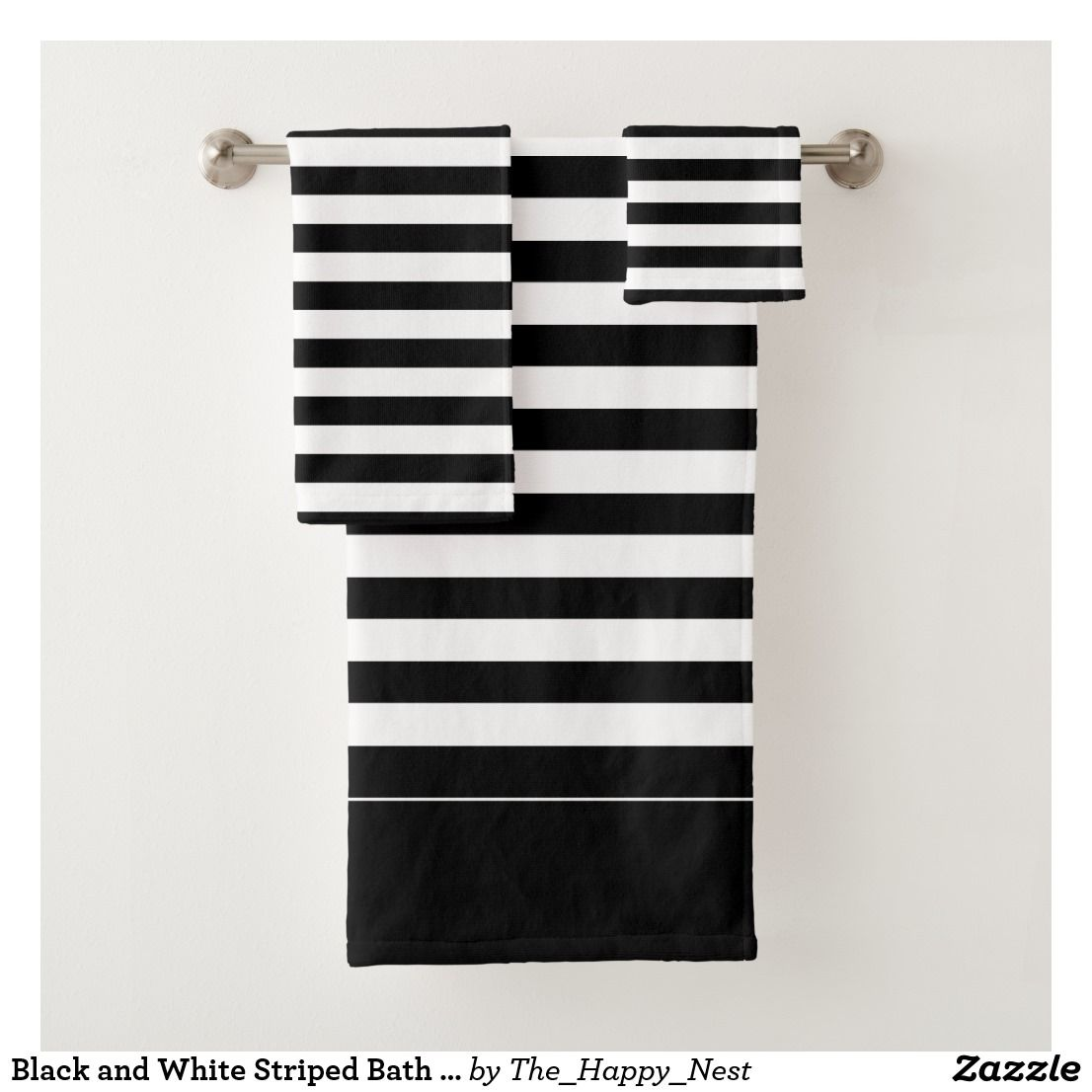 Black And White Striped Bath Towel Set Zazzle Com With Images