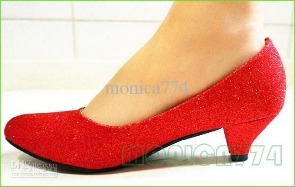 ... better e973c 8d749 Cheap Lady Wedding Shoes Women Silver Gloden Red  Bling Low heels ... 718ee20344