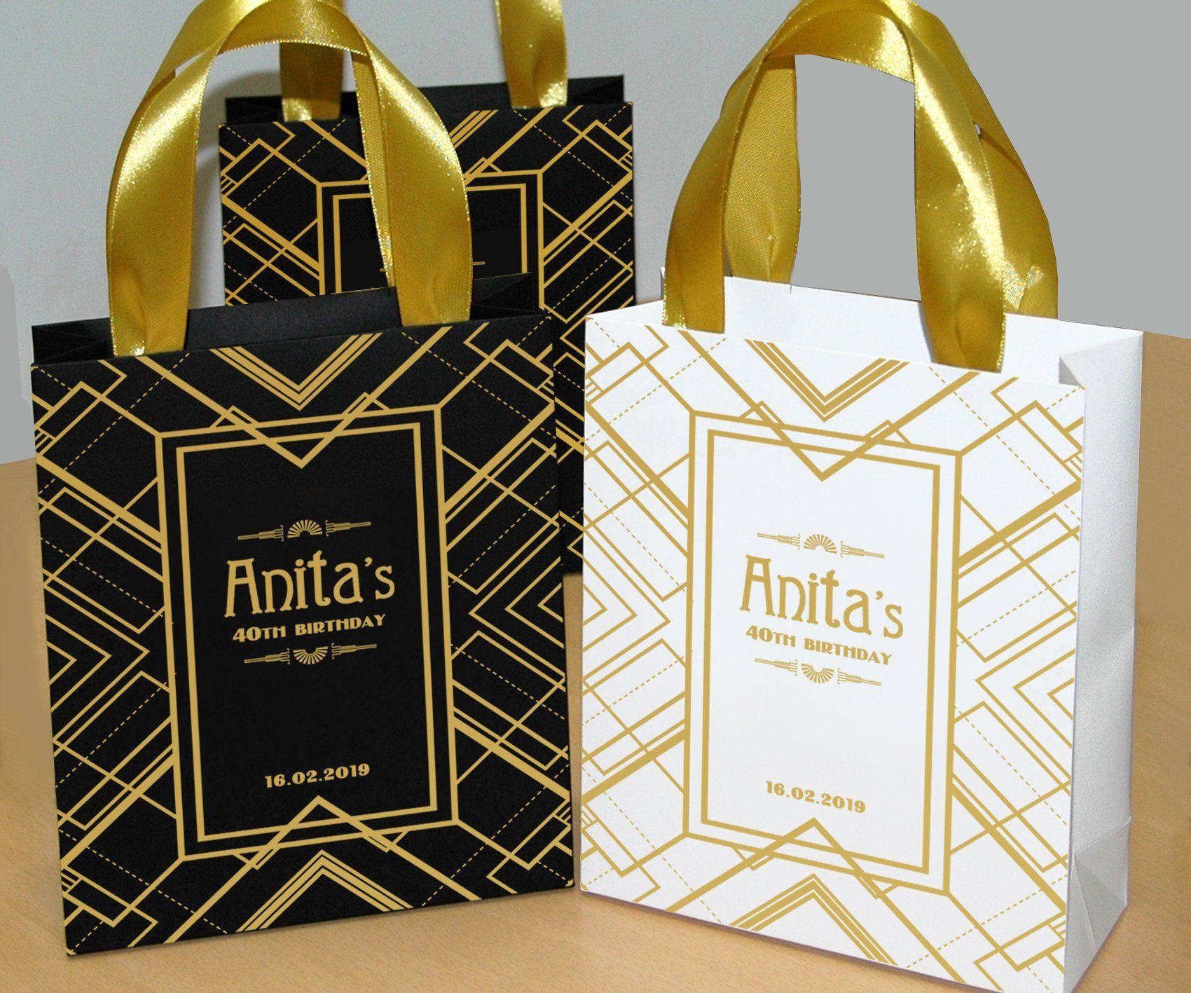 52afaaa6f952 20 Gatsby Style Birthday Gift Bags with gold satin ribbon handles and your  name