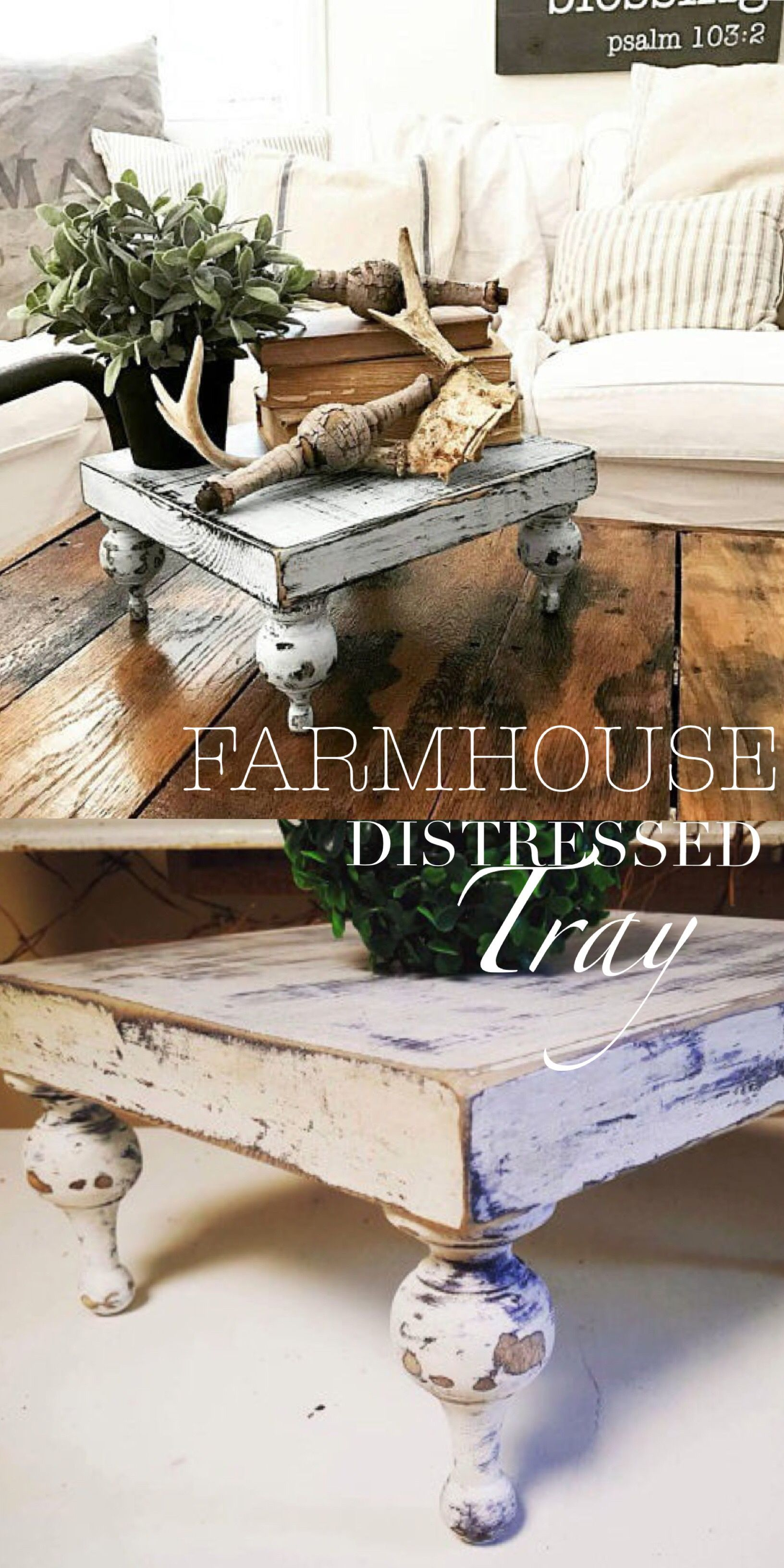 Farmhouse Rustic Style Distressed Wood Tray Ad This Would Be So Great For The Coffee Table Or Dining Tab Decor Farmhouse Style Decorating Diy Farmhouse Decor