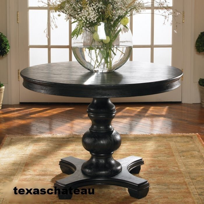 Tuscan Rich BLACK Wood Pedestal Table Round Top Side End Accent