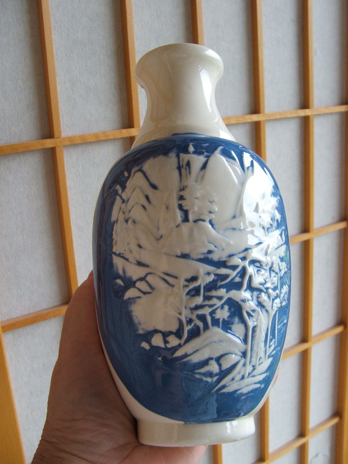 Vintage ceramic vase with blue and white mountain scene by vintage ceramic vase with blue and white mountain scene by lookonmytreasures on etsy floridaeventfo Choice Image