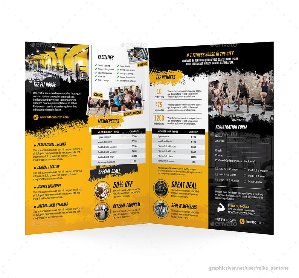 Fitness Bifold / Halffold Brochure 5 #Affiliate #Bifold, #Ad, #Fitness, #Brochure, #Halffold
