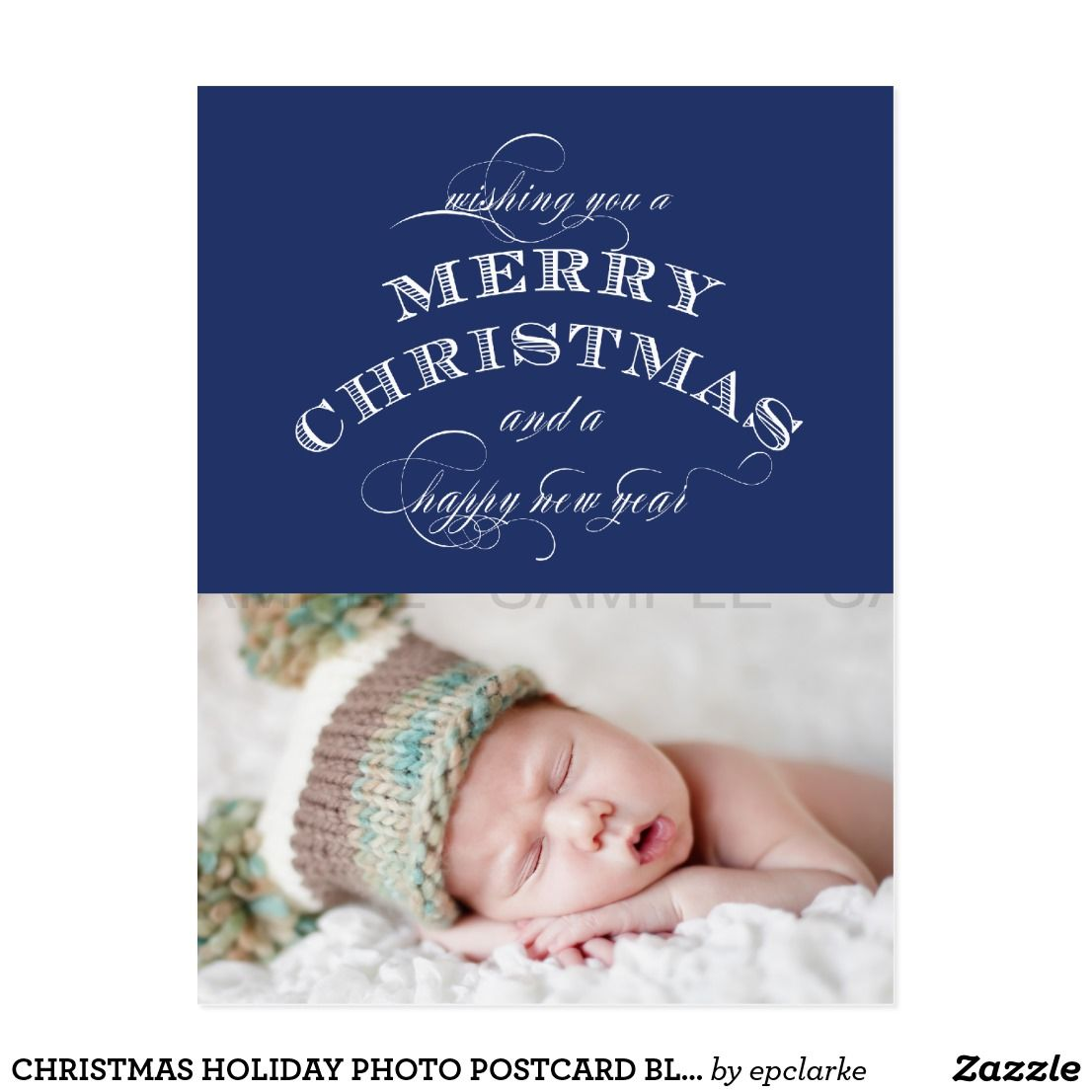 Christmas Holiday Photo Postcard Blue