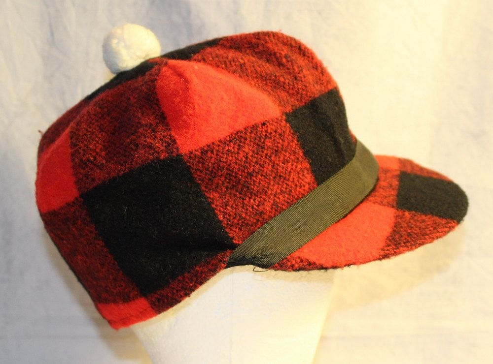 Vintage Hunter s Red and Black Plaid Elmer Fudd Style Hat with Pom ... f616c58cf4d