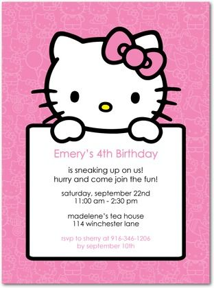 Hello Kitty birthday invitation Birthday party idea Pinterest - birthday invitation model