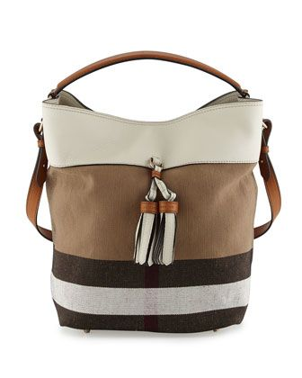 01e8b71b1275 Ashby Medium Grainy Canvas Check Bucket Bag