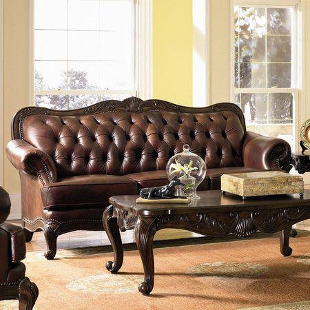 Valencia Leather Sofa Victorian Sofa Tufted Leather Sofa Leather Furniture
