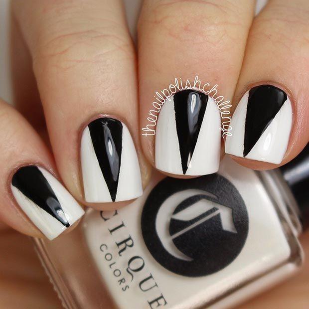 50 Best Black and White Nail Designs - 50 Best Black And White Nail Designs Triangle Nail Art, White