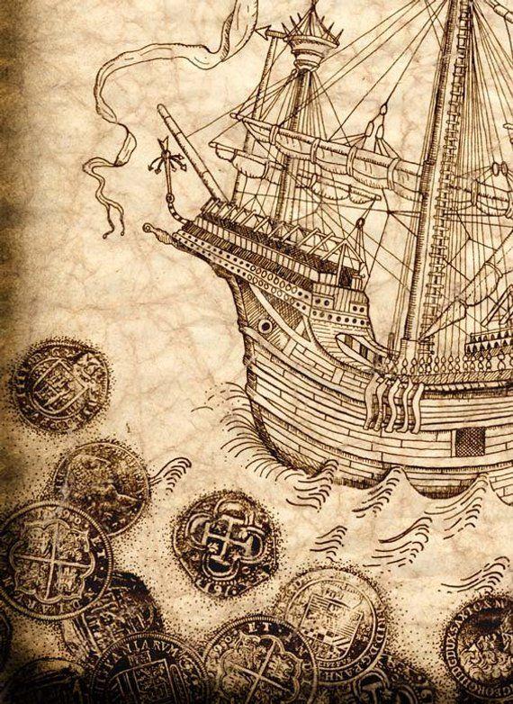 Pirate Ship Art Print 11 X 14 Spanish Galleon With Treasure Coins