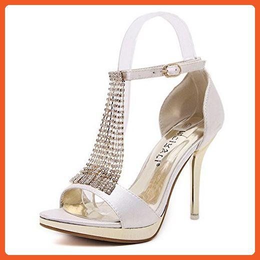 4ca58a369c2 WeenFashion Women's High-Heels Soft Material Solid Buckle Peep Toe ...