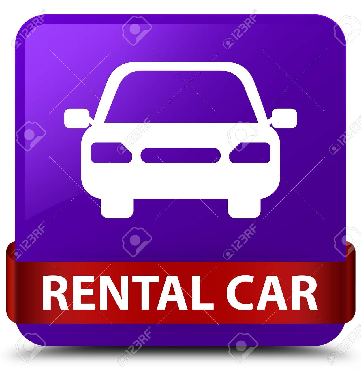 Rental Car Isolated On Purple Square Button With Red Ribbon In Middle Abstract Illustration Ad Purple Square Car Rental Red Ribbon Art Images