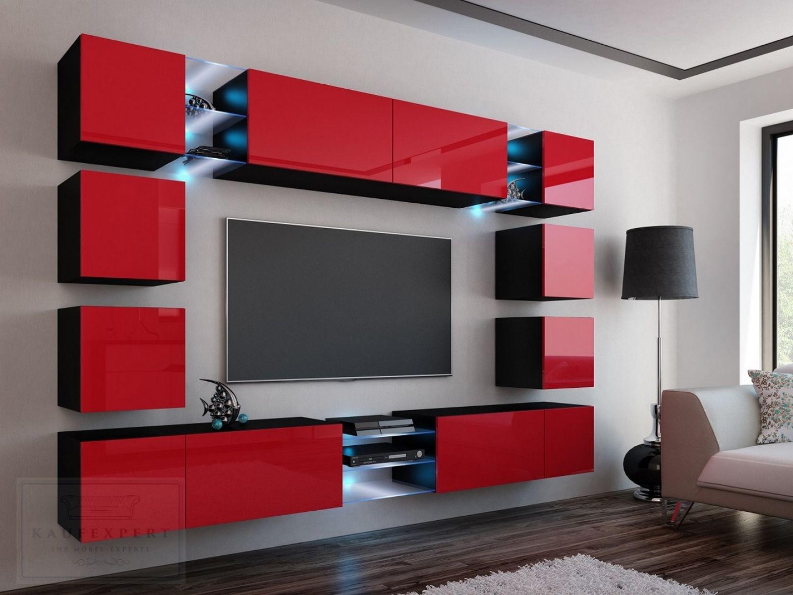 Genial wohnwand rot hochglanz  Moderne wohnzimmergestaltung