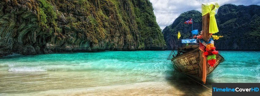 Boat On A Beautiful Island Timeline Cover 850x315 Facebook Covers - Timeline Cover HD