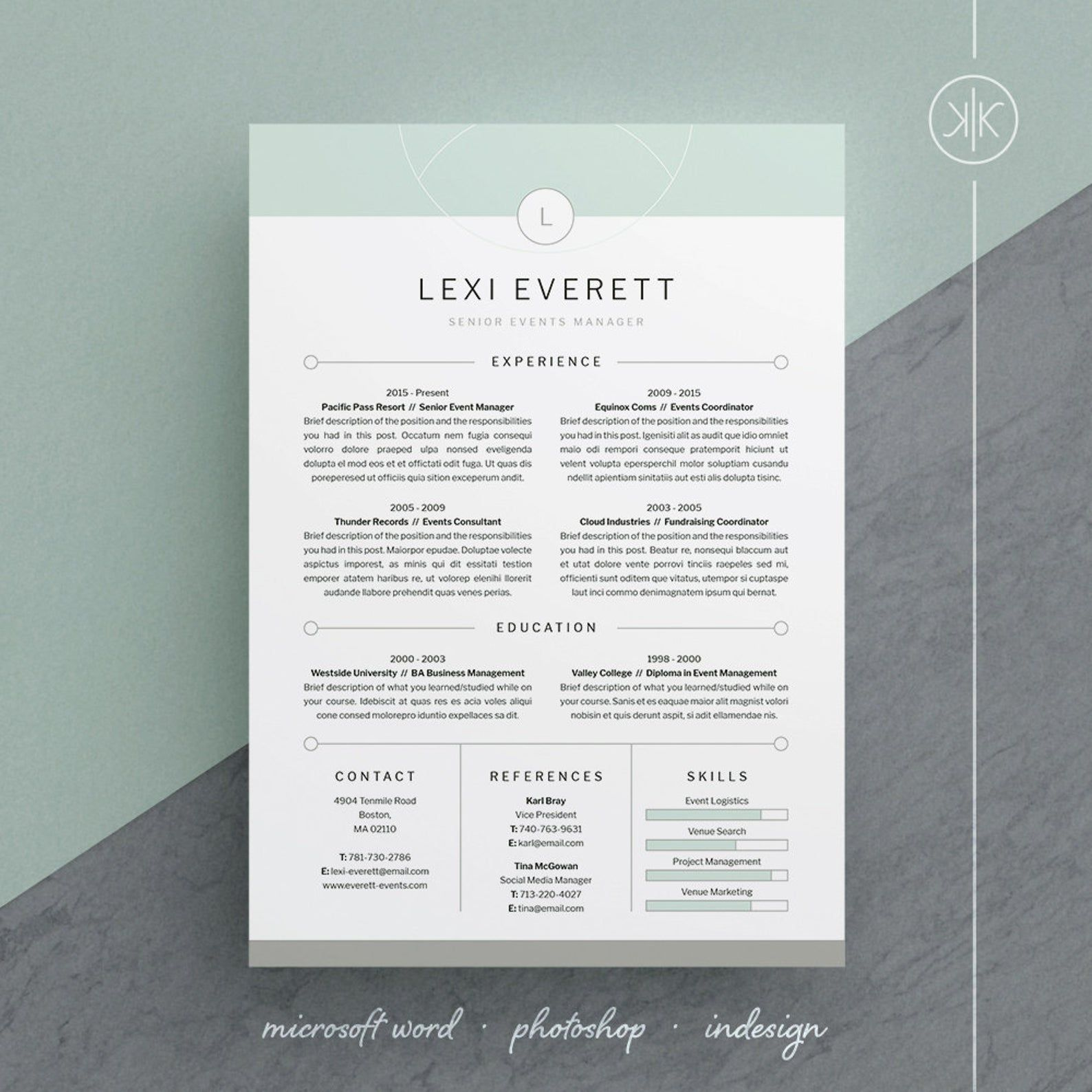 Lexi Resume Cv Template Word Photoshop Indesign Etsy Resume Design Free Resume Design Cv Template Word