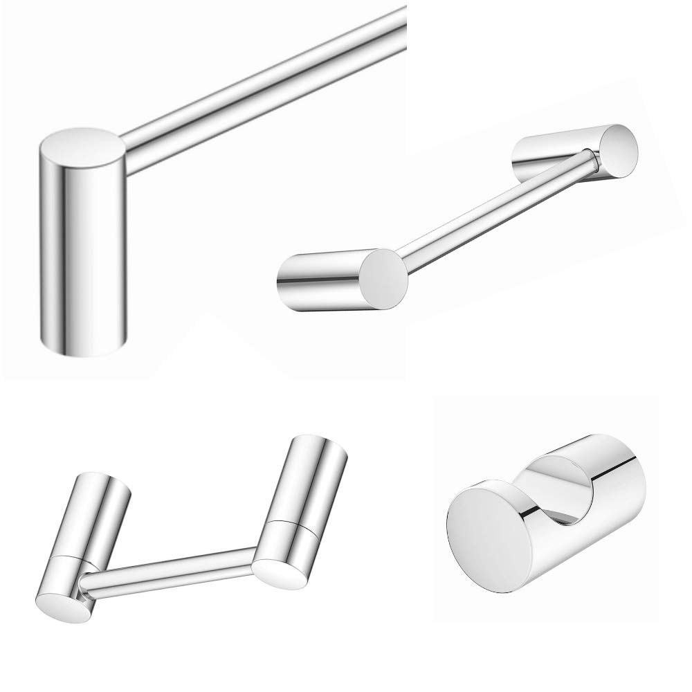 """Bathroom Hardware Accessories 4 Piece Set with 24/"""" Towel Bar Brushed Nickel"""
