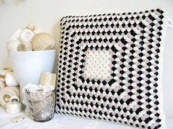 crochet 'granny' cushion cover