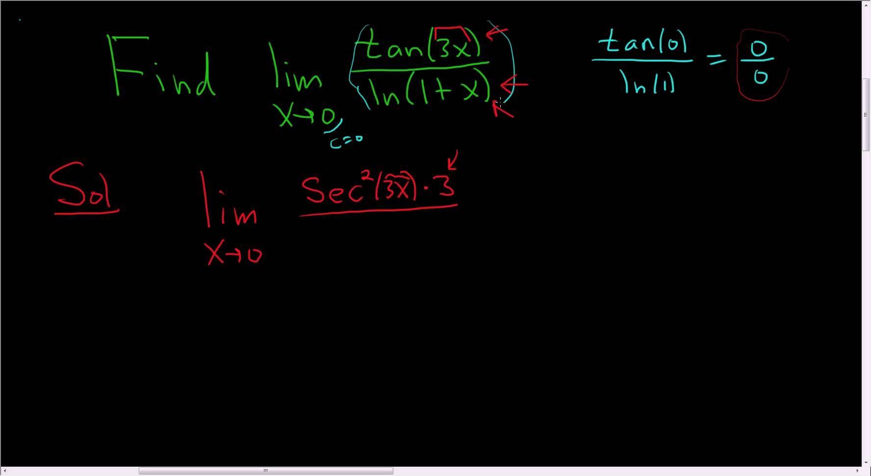 Finding The Limit Using L Hopital S Rule Tan 3x Ln 1 X As X Approach Math Videos Maths Exam Calculus