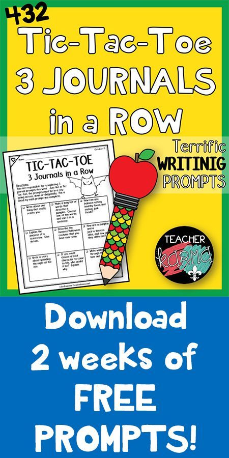 TicTacToe  Journals In A Row  Writing Prompts  Free Samples