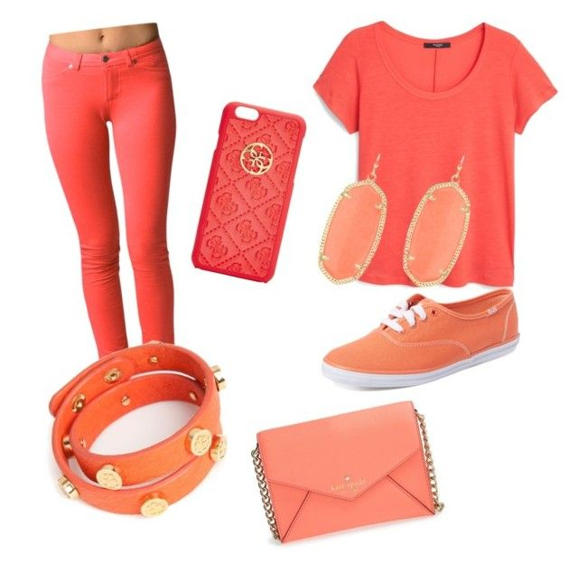 """""""Bright bright orange"""" by brenna-mccarty on Polyvore featuring MANGO, Keds, Kate Spade, GUESS, Kendra Scott and Trina Turk LA"""
