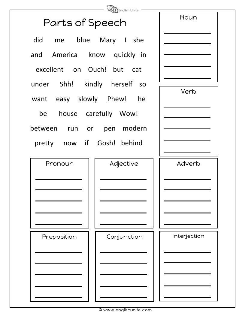 Parts Of Speech Worksheets : Sort the words into their correct boxes based on parts