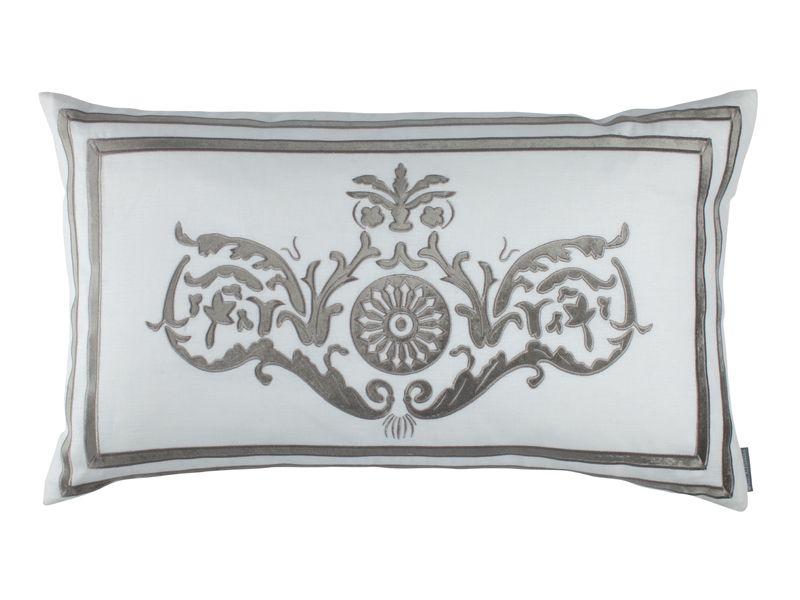 Paris Large Rectangle White Linen / Silver Velvet (18 x 30) L252DWS