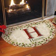 """Personalized Holly """"Merry Christmas"""" Half-Round Doormat"""